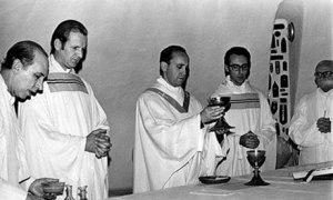 Jorge Mario Bergoglio (centre) in Argentina c 1976.
