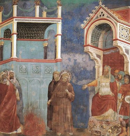 573px-Giotto_-_Legend_of_St_Francis_-_-11-_-_St_Francis_before_the_Sultan_(Trial_by_Fire)