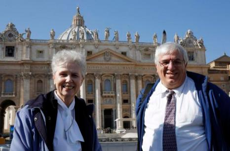 Gramick and Francis DeBernardo pose in front of St. Peter's Square