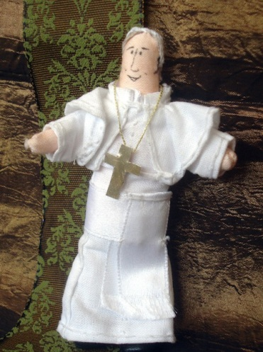 Name: Zsuzsanna Benkene Jenoffy Email: erdeipinty@gmail.com Address: Egyetem Utca 5/24 Piliscsaba, Pest 2081 Hungary Phone: 363-596-9364 Title: Pope Francis as a doll Medium: Handmade Doll Shor Description: It's not a drawing, but I thought, I'll try to share with you.  My dolls have a blog, too, but only available in Hungarian: kisegyhaztortenet.tumblr.com