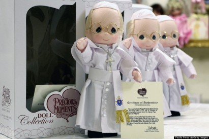 """MANILA, PHILIPPINES - 2015/01/13: A limited edition of Pope Francis doll can be sold """"Precious Moments Giftshop & Restaurant in Omena hi-way cor. Buendiya Avenue in Makati City as one of the memorabilia that reminds as the 4 days visits of pope Francis in Philippines from January 15-19, 2015. The Pope dolls are made of rubber (body), cotton (attire), stainless (cross necklace) with the certificate of authenticity from the artist, with The Coat of arms seal on the Pope Francis doll dress and a total height of 12 inches. (Photo by Gregorio B. Dantes Jr./Pacific Press/LightRocket via Getty Images)"""