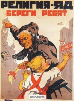 Antikerkelijke propaganda in de Sovjet-Unie.