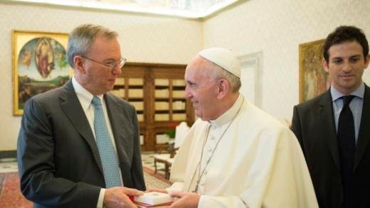 Pope Francis (R) exchange gift with Executive Chairman of Google Eric Schmidt during a private meeting at the Vatican, January 15, 2016. REUTERS/Osservatore Romano/Handout via Reuters ATTENTION EDITORS - THIS IMAGE WAS PROVIDED BY A THIRD PARTY. REUTERS IS UNABLE TO INDEPENDENTLY VERIFY THE AUTHENTICITY, CONTENT, LOCATION OR DATE OF THIS IMAGE. IT IS DISTRIBUTED EXACTLY AS RECEIVED BY REUTERS, AS A SERVICE TO CLIENTS. FOR EDITORIAL USE ONLY. NOT FOR SALE FOR MARKETING OR ADVERTISING CAMPAIGNS. NO RESALES. NO ARCHIVE.