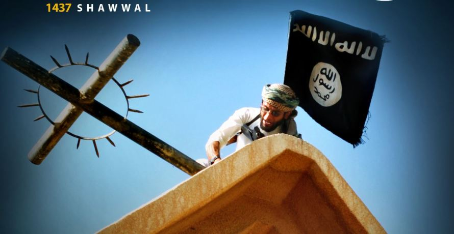Coverfoto van IS magazine Dabiq: 'Breek het Kruis'