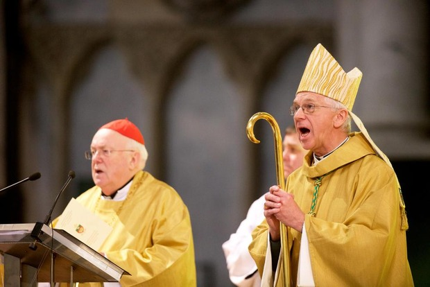 20151212 - MECHELEN, BELGIUM: Cardinal Godfried Danneels and Appointed Archbishop Jozef De Kesel pictured during the official appointment ceremony mass for Archbishop Jozef De Kesel, Saturday 12 December 2015, in Mechelen. He is the successor of Andre Leonard. BELGA PHOTO NICOLAS MAETERLINCK