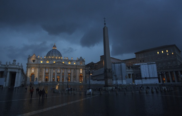 St. Peter's Basilica is pictured in the evening at the Vatican Feb. 11. Pope Benedict XVI announced Feb. 11 that he will resign Feb. 28. (CNS photo/Paul Haring) (Feb. 11, 2013) See BENEDICT-RESIGN Feb. 11, 2013.