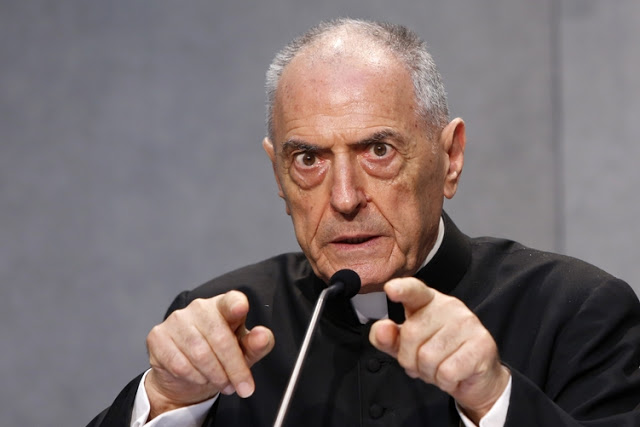 Monsignor Pio Vito Pinto speaks during a press conference to illustrate a new law issued by Pope Francis regulating how bishops around the world determine when a fundamental flaw has made a marriage invalid, at the Vatican, Tuesday, Sept. 8, 2015. Pope Francis radically reformed the Catholic Church's process for annulling marriages Tuesday, allowing for fast-track decisions and removing automatic appeals in a bid to speed up and simplify the procedure. (AP Photo/Riccardo De Luca)
