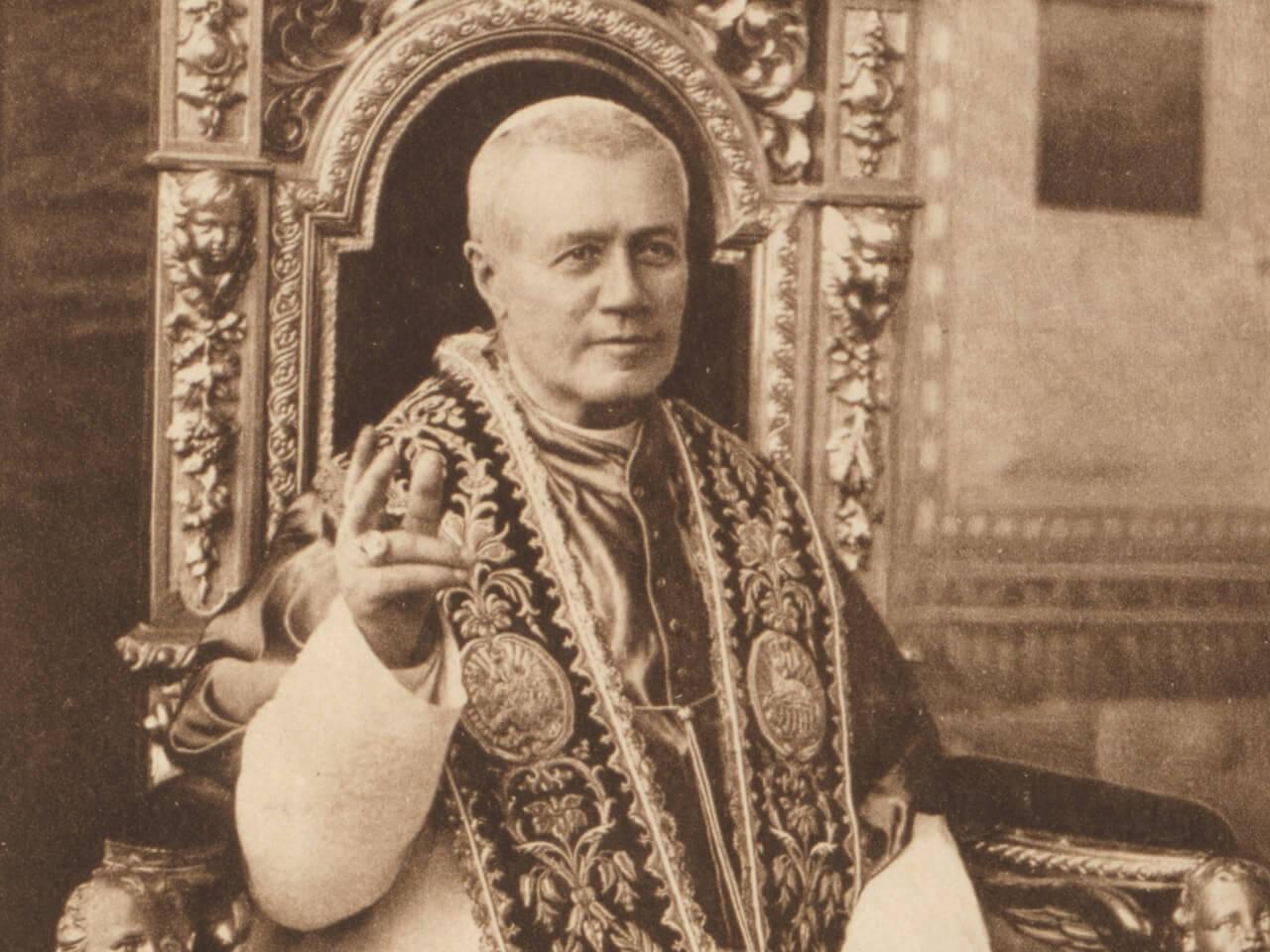 Die Vision des heiligen Papstes Pius X. über die Flucht des Papstes aus Rom Piusxpaus
